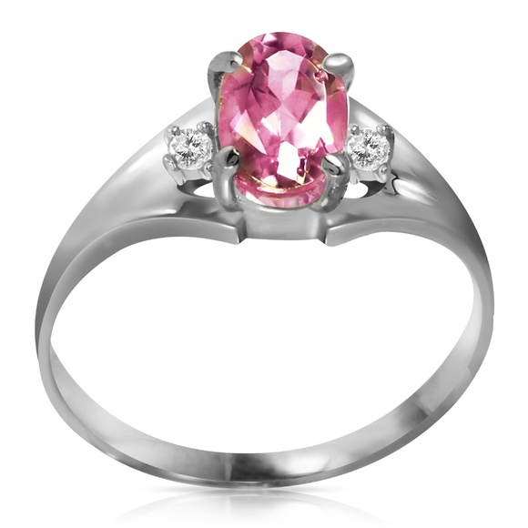 Galaxy Gold Products Jewelry - SOLID GOLD RINGS WITH DIAMONDS & PINK TOPAZ